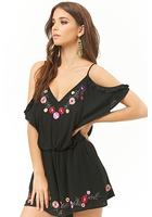 London Rose Floral Embroidered Open-shoulder Romper