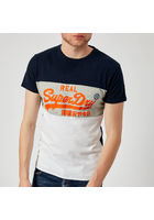 Superdry Men's Vintage Logo Panel T-shirt - Optic/silver Birds Eye Grey/classic Blue - S - Multi