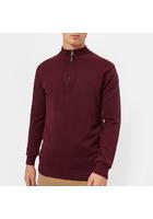 Joules Men's Hillside 1/4 Zip Knitted Jumper - Port - M - Burgundy