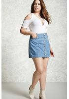 Plus Size Button Denim Skirt