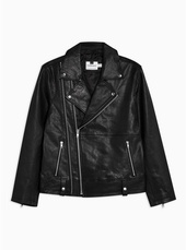 Black Leather Double Zip Biker Jacket