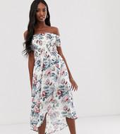 Vestido Midi Con Escote Bardot Y Estampado Floral De Parisian Tall