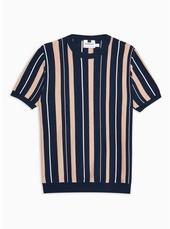 Navy Short Sleeve Stripe Jumper