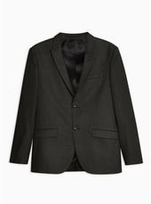 Grey Slim Fit Dogstooth Single Breasted Blazer With Peak Lapels