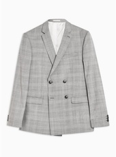 Light Grey Slim Fit Premium Check Double Breasted Blazer With Notch Lapels