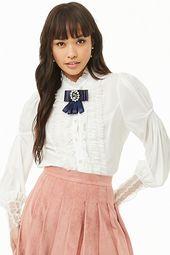 Ruffled Lace-trim Shirt