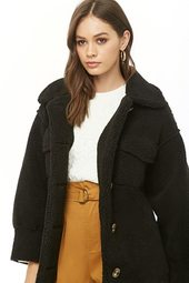 Faux Shearling Button-front Coat