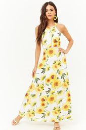 Open-back Sunflower Print Maxi Dress