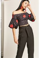 Polka Dot Rose Top & Belted Pants Set