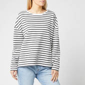 Superdry Women's Ashby Stripe Long Sleeve Top - Charcoal Marl/chlak Stripe - Uk 8 - Black