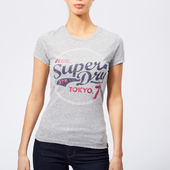 Superdry Women's Tokyo 7 Glitter Entry T-shirt - Light Grey Snowy - Uk 8 - Grey
