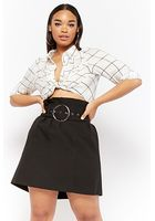 Plus Size Paperbag-waist Mini Skirt