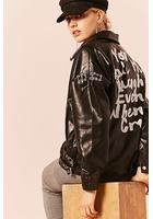 Graphic Faux Leather Grommet Moto Jacket