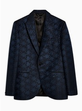 Navy Slim Fit Jacquard Single Breasted Blazer With Peak Lapels