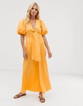 Vestido Midi De Algodón En Color Caléndula Con Mangas Voluminosas Y Parte Delantera Anudada De Y.a.s