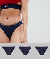 Pack De 3 Braguitas De Bikini En Azul Marino De Tommy Hilfiger