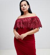 Vestido De Tubo Rojo Con Escote Bardot Y Capa Superior De Encaje De Paper Dolls Plus