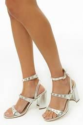 Metallic Faux Pearl Heels