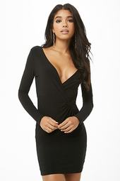 Twist-front Surplice Mini Dress