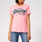 Superdry Women's V Logo Retro Rainbow Entry T-shirt - Neon Pink Snowy - Xs - Pink