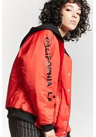Hooded Graphic Bomber Jacket