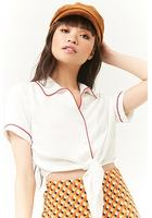 Tie-front Cropped Shirt