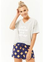 Cat's Meow Graphic Tee & Pajama Shorts Set