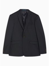 Navy Slim Fit Premium Pinstripe Single Breasted Blazer With Notch Lapels