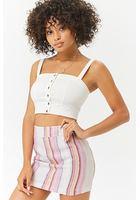 Linen-blend Striped Mini Skirt
