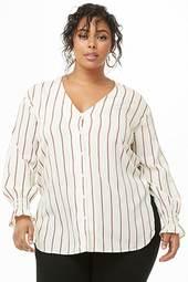 Plus Size Striped V-neck Shirt