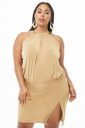 Plus Size Shirred Halter Mini Dress