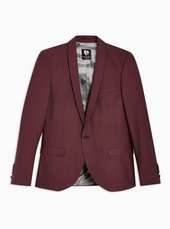 Twisted Tailor Burgundy Slim Fit 'ellroy' Single Breasted Blazer With Shawl Lapel