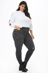 Plus Size Distressed Pull-ring Skinny Jeans