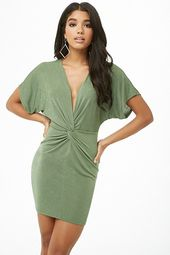 Twist-front Plunging Mini Dress