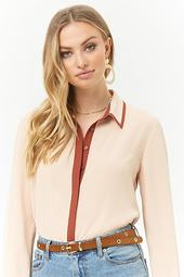 Contrast Trim Chiffon Shirt