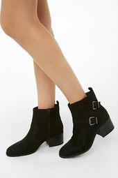 Faux Suede Double-buckle Boots
