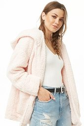 Hooded Faux Shearling Open-front Jacket