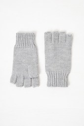 Knitted Fingerless Gloves - Light Grey Mel