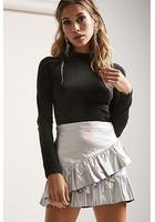 Metallic Ruffle Mini Skirt