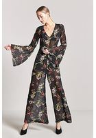 Sheer Floral Bell-sleeve Jumpsuit