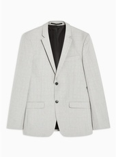 Grey Skinny Fit Check Single Breasted Blazer With Notch Lapels
