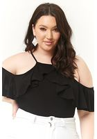 Plus Size Open-shoulder Flounce Bodysuit