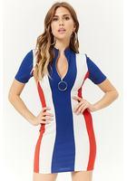 Colorblock Zip-front Bodycon Dress