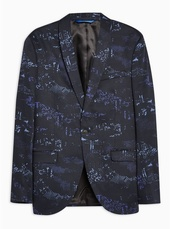 Navy Skinny Fit Digital Print Single Breasted Blazer With Shawl Lapel