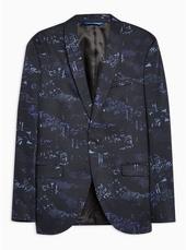 Navy Digi Print Skinny Blazer