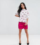 Minifalda Con Volante Fruncido En Tejido Lujoso De Fashion Union Petite