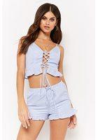 Striped Ruffle-hem Lace-up Cropped Cami & Shorts Set