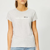 Karl Lagerfeld Women's Ikonik & Logo T-shirt - Light Grey Melange - S - Grey