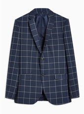 Navy Skinny Fit Windowpane Check Single Breasted Blazer With Notch Lapels