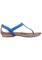 Crocs Sandal Women Blue Jean/animal Crocs Isabella Graphic T-strap